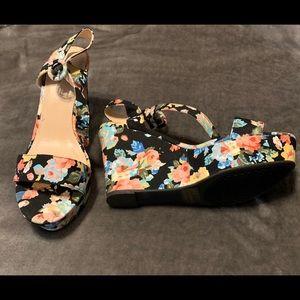 Qupid Platform Black Floral Sandals